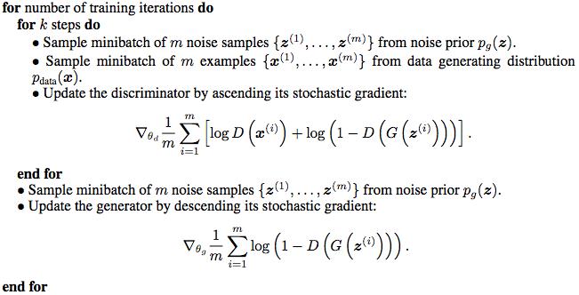 GAN 论文中的训练算法